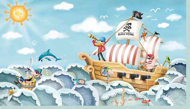 Jack-pirate-Mediterranean-creative-children-s-room-bedroom-wallpaper-murals-wallpaper-backdrop-cartoon-boat-wallpaper